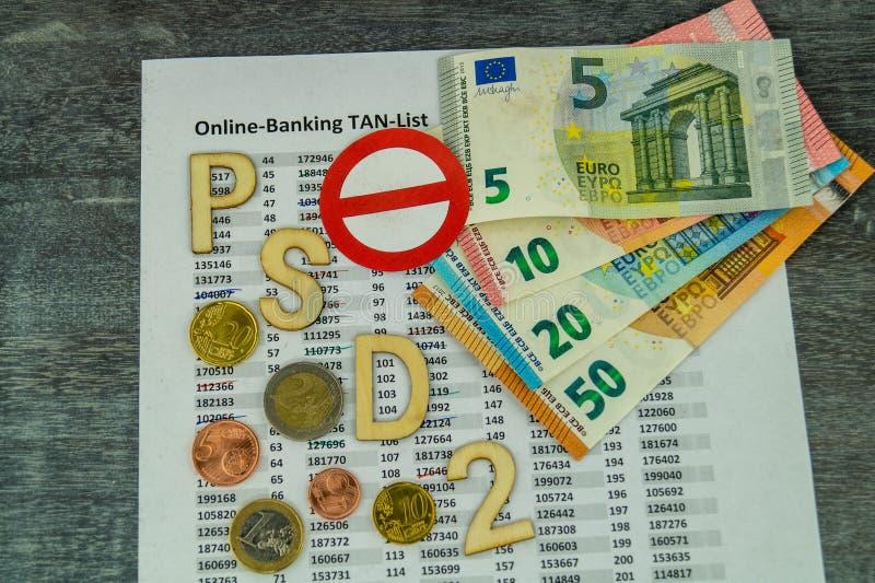 PSD2 - Betalningservice Directment två royaltyfri bild