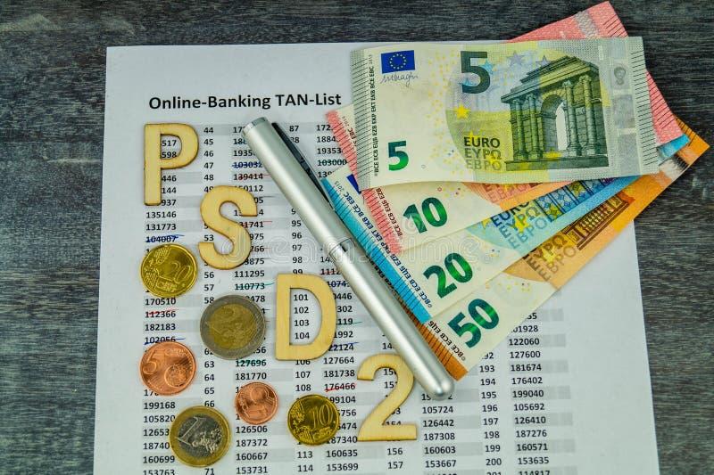 PSD2 - Betalningservice Directment två arkivbild