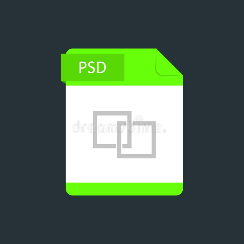 PSD file type icon. Vector illustration isolated on a dark blue background.  vector illustration