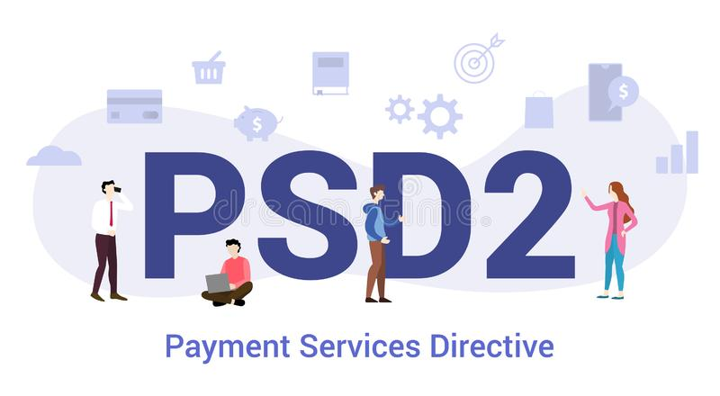 Psd2 payment services directive concept with big word or text and team people with modern flat style - vector. Illustration stock illustration