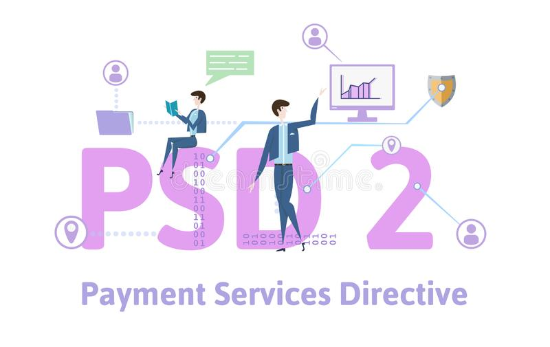 PSD2, Payment Services Directive 2. Concept with people, letters and icons. Colored flat vector illustration on white. PSD2, Payment Services Directive 2 stock illustration