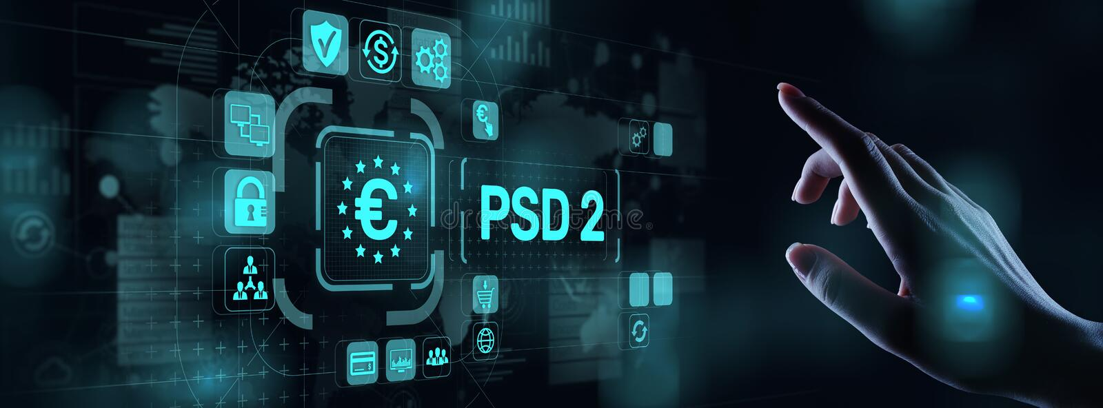 PSD2 Payment Services Directive Open Banking Payment service provider security protocol. PSD2 Payment Services Directive Open Banking Payment service provider vector illustration