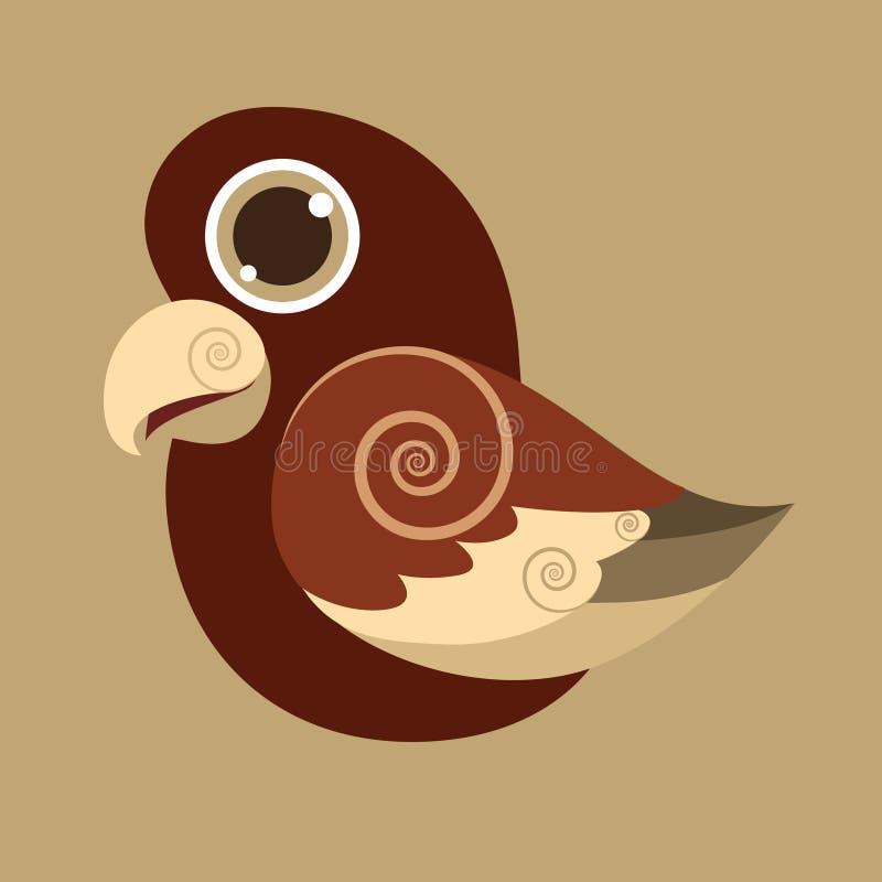 PseudeosFuscata śliczny ptasi abstrakcjonistyczny prehistoryczny kolor ilustracji