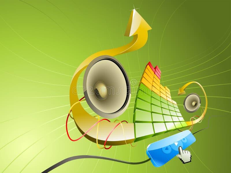 Pseudo 3D illustratie van muziek stock afbeeldingen