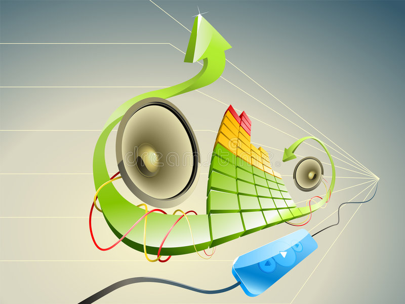 Pseudo illustration 3D de la musique photos libres de droits