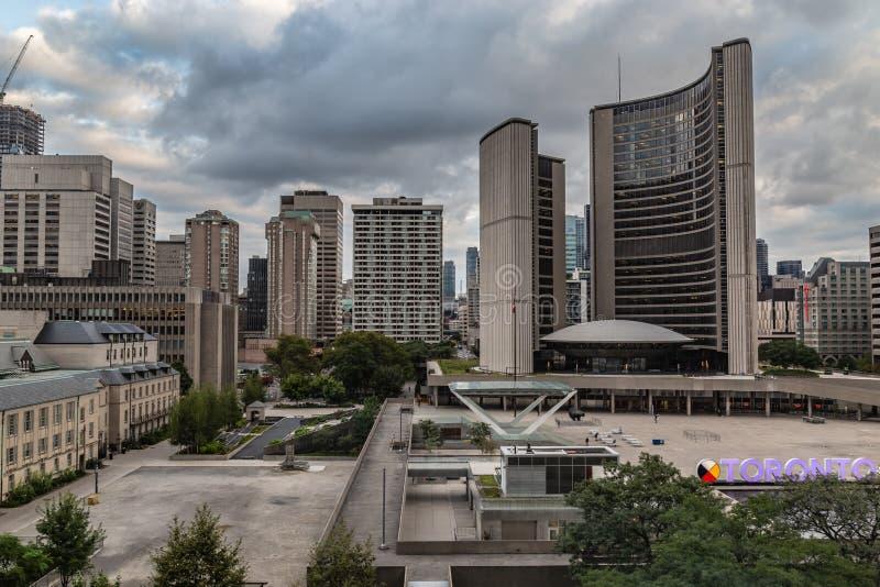 Pseudo widok z lotu ptaka Toronto Ontario urząd miasta Kanada obrazy royalty free