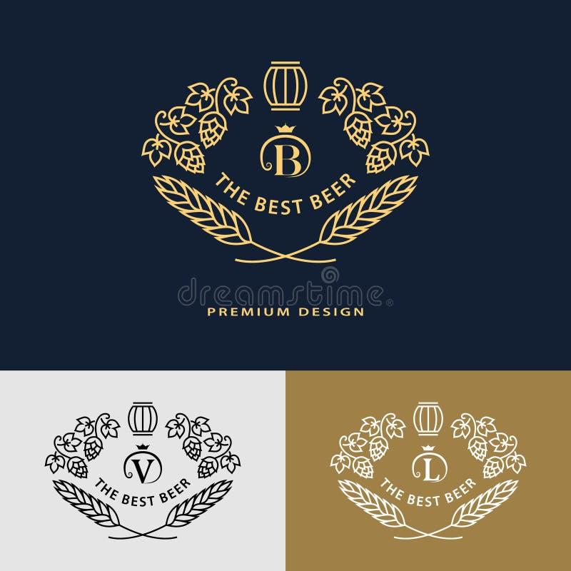Pseudografikmonogramm Logodesignrahmen-Verzierungsschablone mit Fass lizenzfreie abbildung