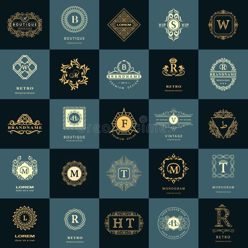 Pseudografikmonogramm Weinlese-Logo-Design-Schablonen eingestellt Geschäftszeichen Buchstabeemblem Vektorfirmenzeichen-Elementsam stock abbildung