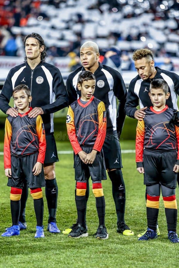 PSG-Fußballspieler Cavani, Neymar und Mbappe am Fußballplatz lizenzfreies stockfoto
