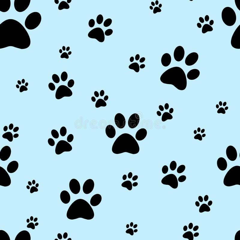 Psi łapa druk bezszwowy Ślada kot tkaniny wzór bezszwowy wektora Ślada kot tkaniny wzór bezszwowy wektora royalty ilustracja