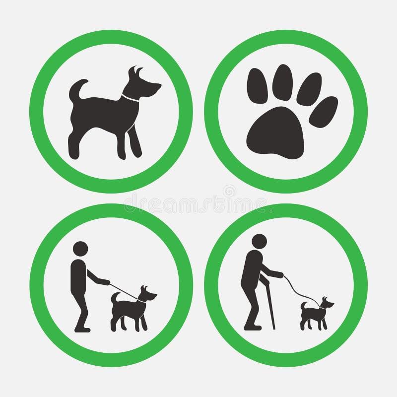 Psi życzliwi znaki, spacery z psami, mężczyzny pomagier ilustracji