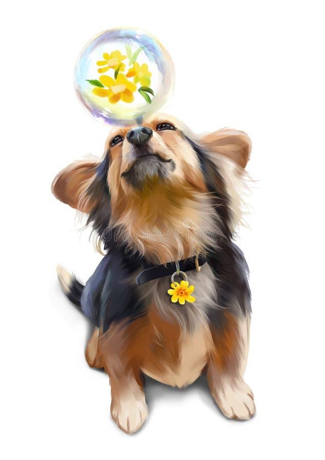 Psi bawić się z mydlanego bąbla akwareli obrazem ilustracja wektor