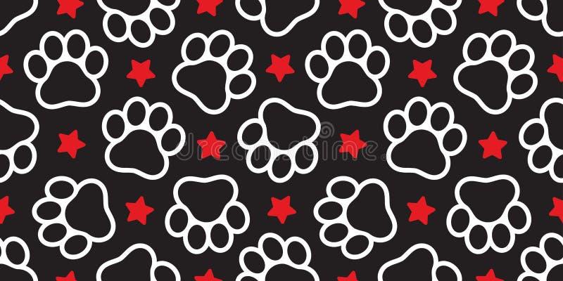 Psi bezszwowy deseniowy szalik odizolowywający łapa wektoru gwiazdy odcisku stopego zwierzęcia domowego kota powtórki kreskówki p royalty ilustracja