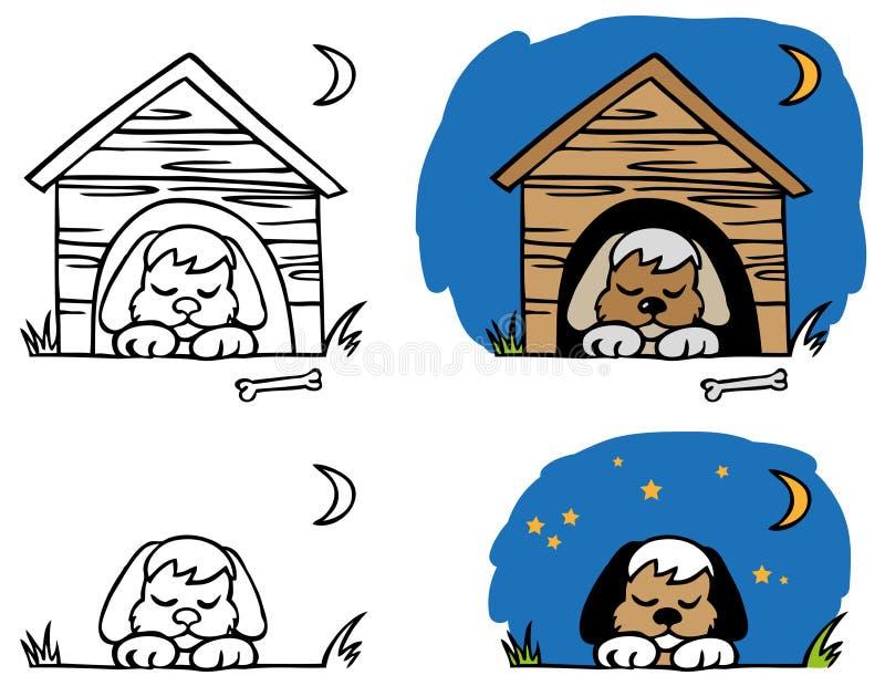 Psi dosypianie w budka ilustracji