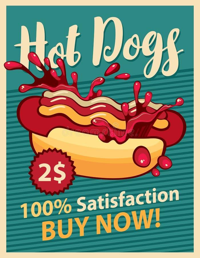 psi gorący ketchup ilustracji