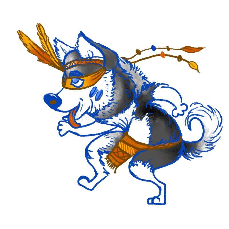 Psi husky Łuskowaty shamansky taniec Nowy Rok 2018 ilustracja Kartka z pozdrowieniami pies Domowy zwierzę domowe szczotkarski węg ilustracja wektor