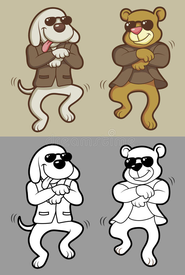 Psi i niedźwiadkowy taniec ilustracja wektor