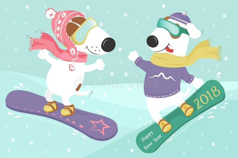Psi jazda na snowboardzie w śniegu obraz royalty free