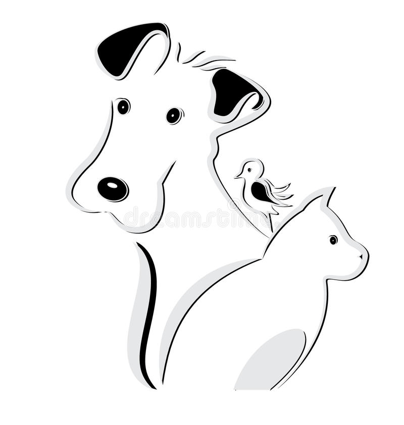 Psi kota i ptaka logo ilustracja wektor