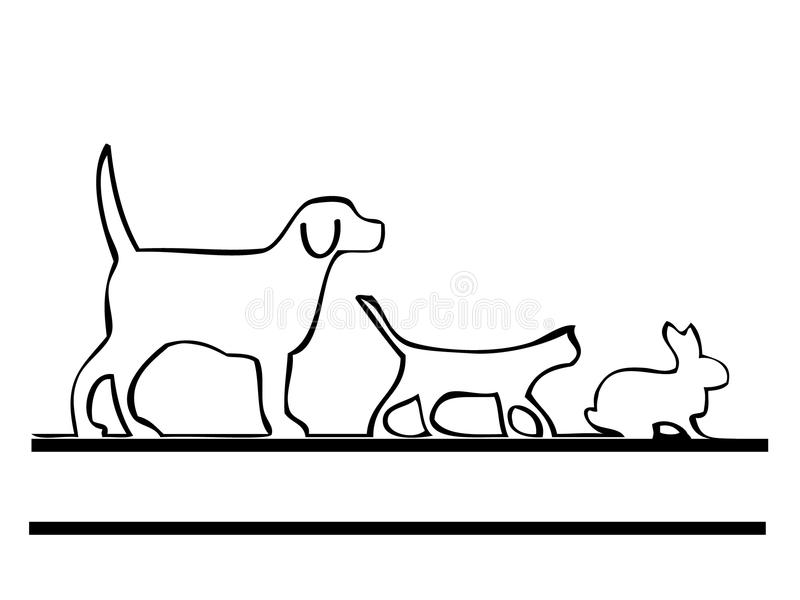 psi kota królik ilustracji