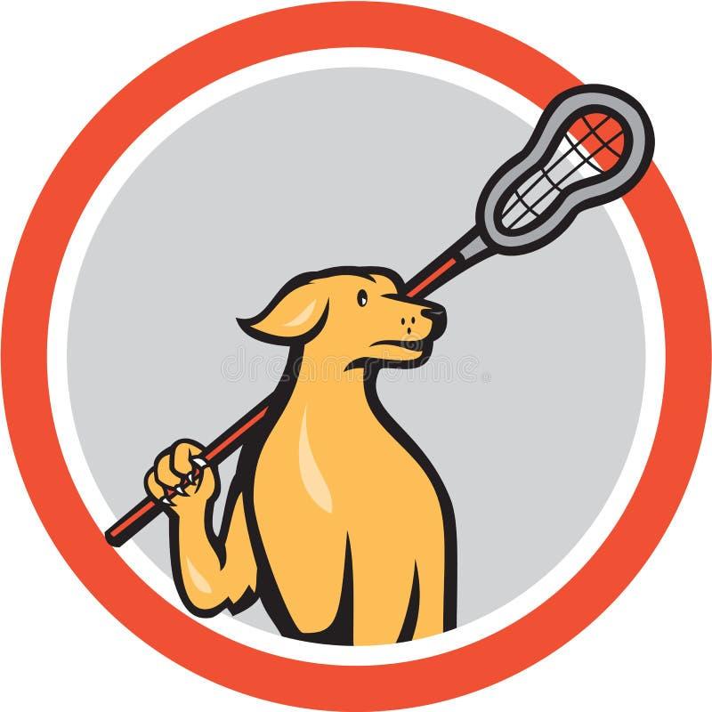 Psi Lacrosse gracza Crosse kija kreskówki okrąg royalty ilustracja