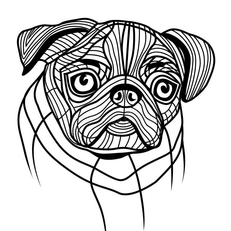 Psi mops głowy wektor ilustracji