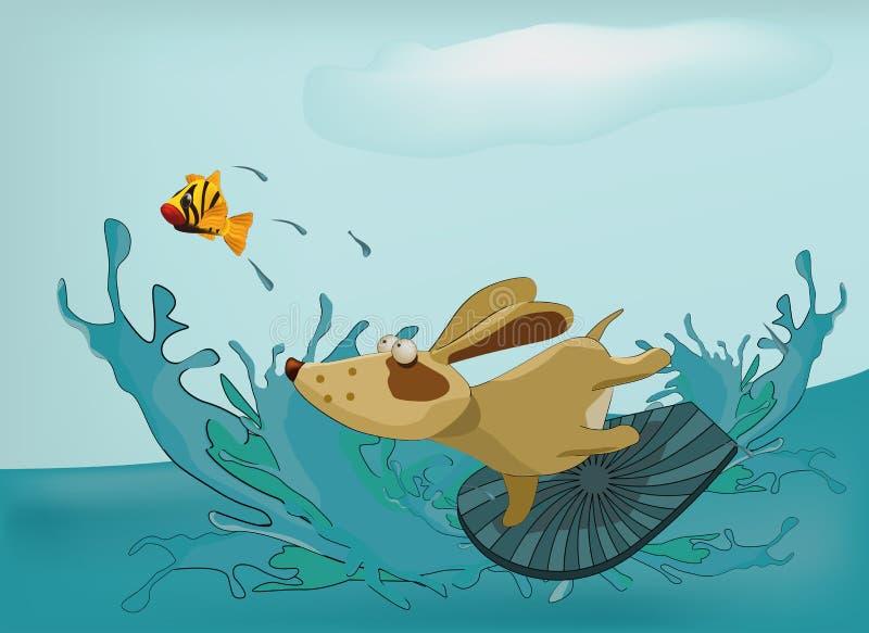 psi morze ilustracji