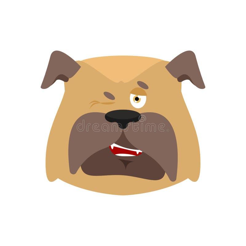 Psi mrugnięcia emoji Zwierzę domowe wesoło emocje buldog Radosny Wektorowy illus ilustracji