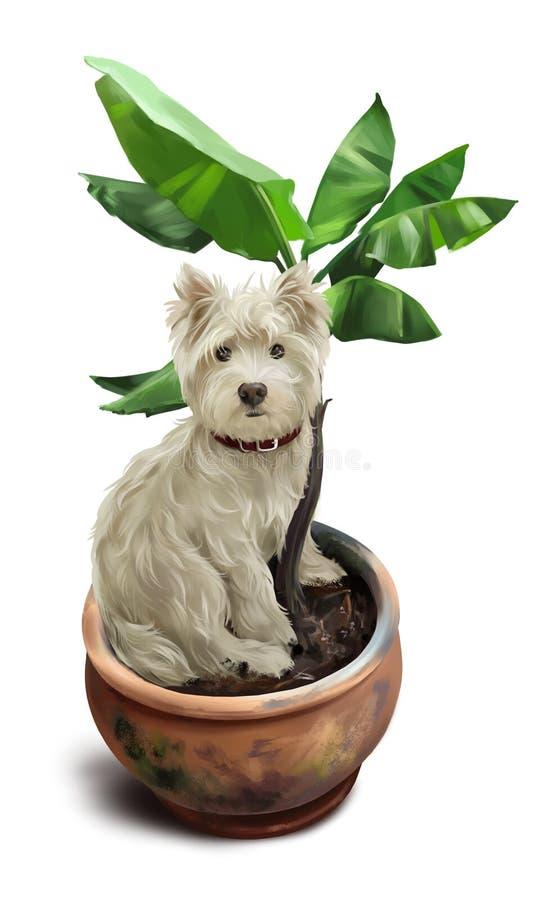 Psi obsiadanie w kwiatu garnku banki target2394_1_ kwiatono?nego rzecznego drzew akwareli cewienie ilustracji