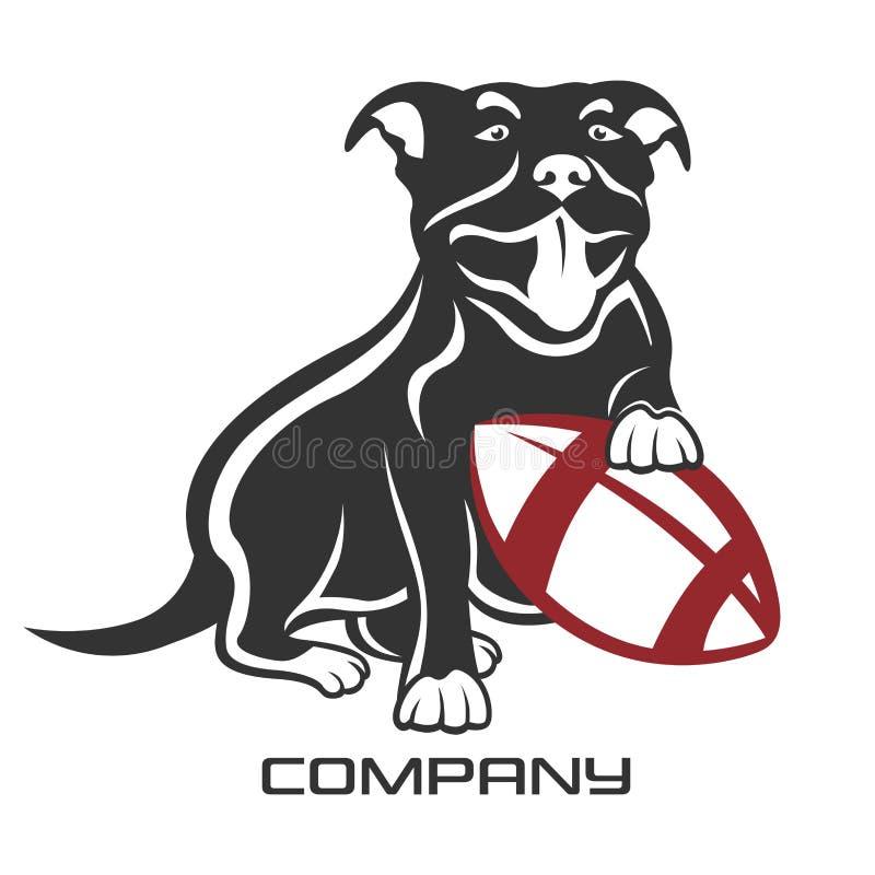 Psi pit bull z balowym logo również zwrócić corel ilustracji wektora ilustracja wektor