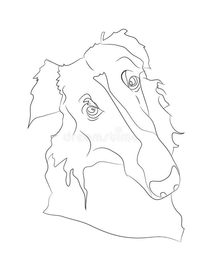 Psi portret, linie, wektor ilustracja wektor