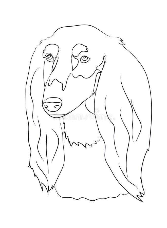 Psi portret, linie, wektor royalty ilustracja