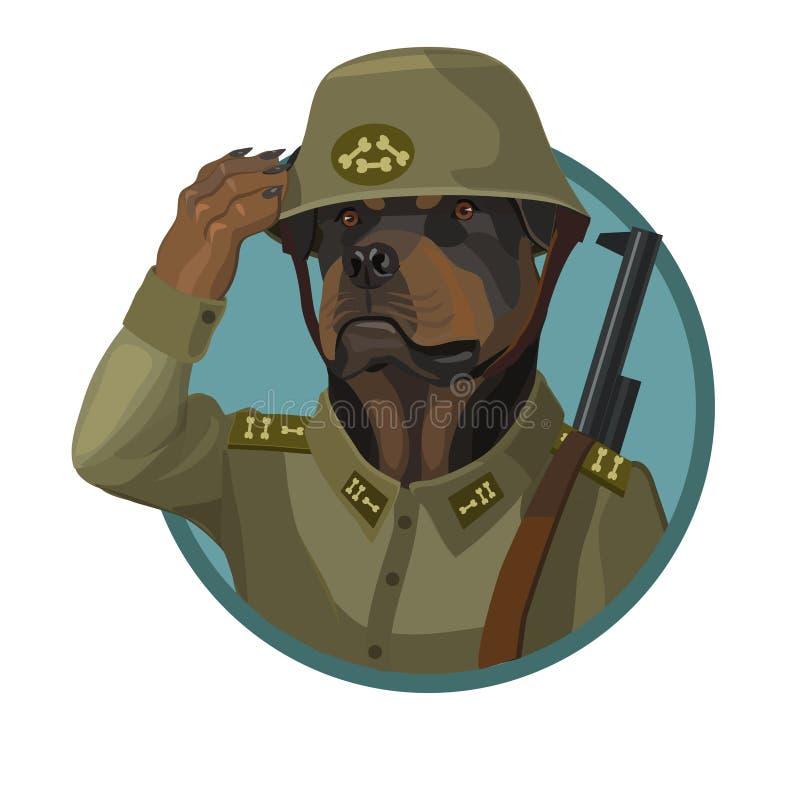Psi Rottweiler lojalny żołnierz ilustracji