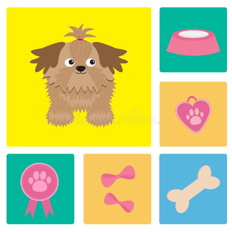 Psi Shih Tzu i psiej materiału łęku kości medalu karmowa nagroda Kwadratowy ikona set royalty ilustracja