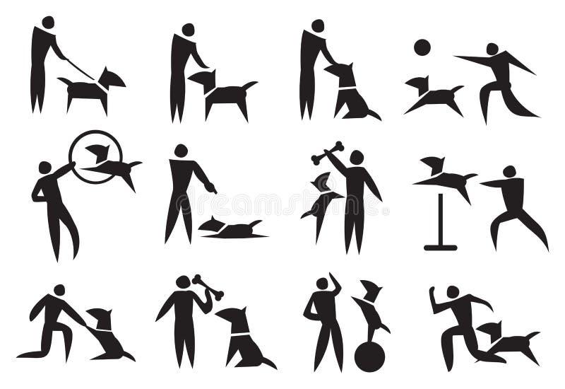 Psi Stażowy Wektorowy ikona set ilustracja wektor