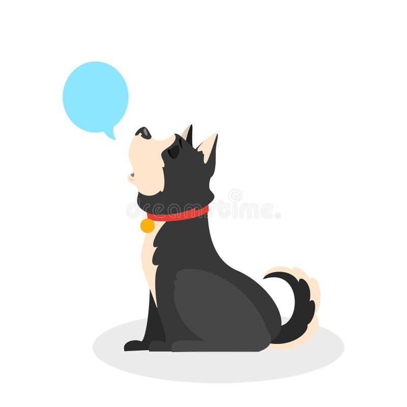 Psi wycie Zwierzęcy obsiadanie i wyć głośni ilustracji