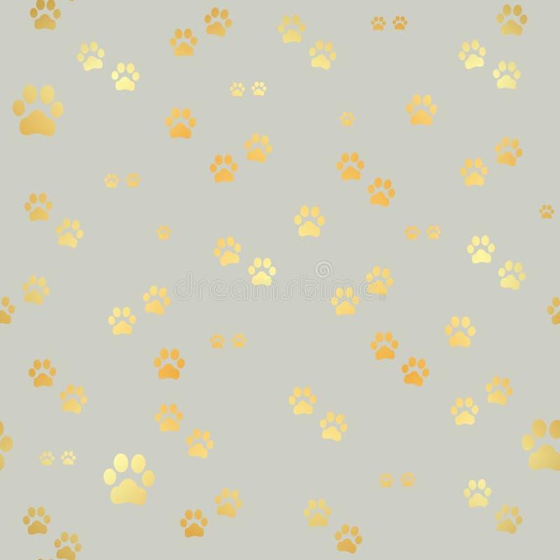 Psi Złociści łapa druki Bezszwowy wzór zwierzęcy złociści odciski stopy Psiego łapa druku bezszwowy wzór również zwrócić corel il ilustracja wektor