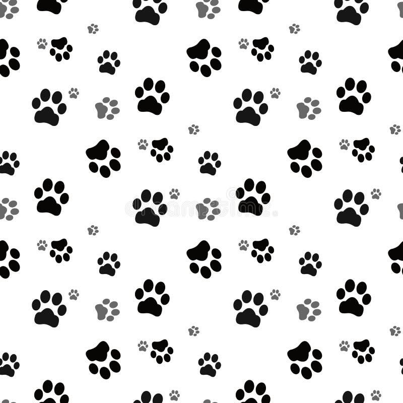 Psia łapa bezszwowa Kot łapy psa łapy figlarki wektorowy Bezszwowy Deseniowy tapetowy tło royalty ilustracja