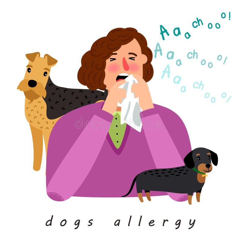 Psia alergii kobieta ilustracja wektor