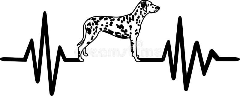 Psia bicie serca linia z dalmatian bielem ilustracja wektor