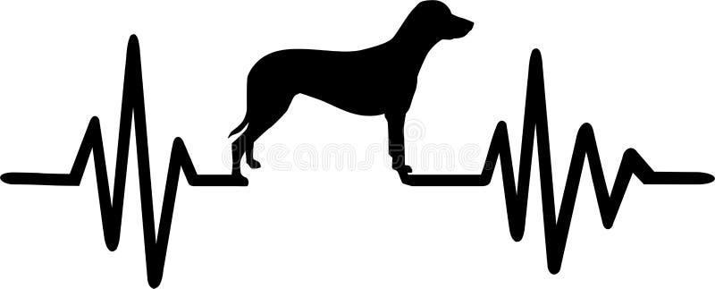 Psia bicie serca linia z dalmatian czernią ilustracja wektor