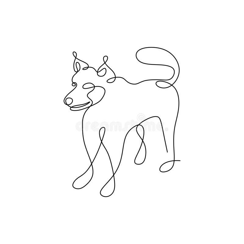 Psia ciągła ręka rysujący kreskowej sztuki minimalizmu pojedynczy projekt na białym tle royalty ilustracja