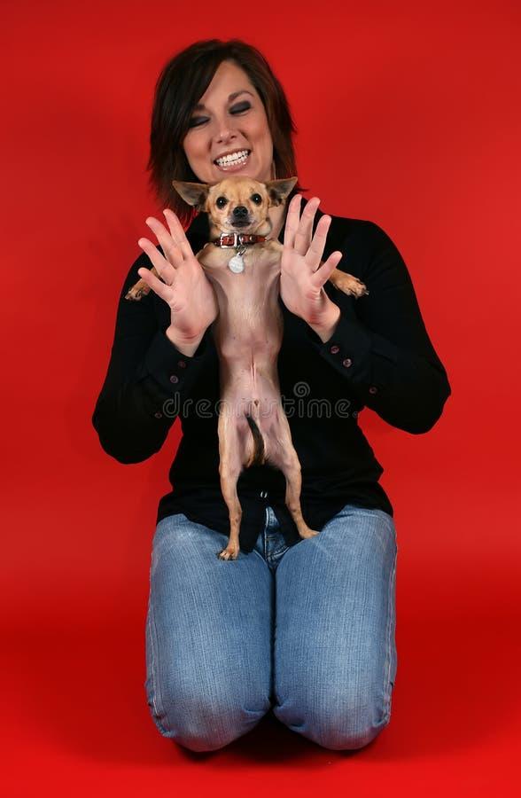 psia dziewczyny czerwony obrazy royalty free