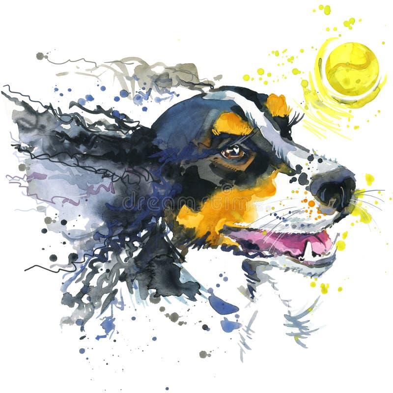 Psia i balowa ilustracja z pluśnięcie akwarelą textured tło ilustracja wektor