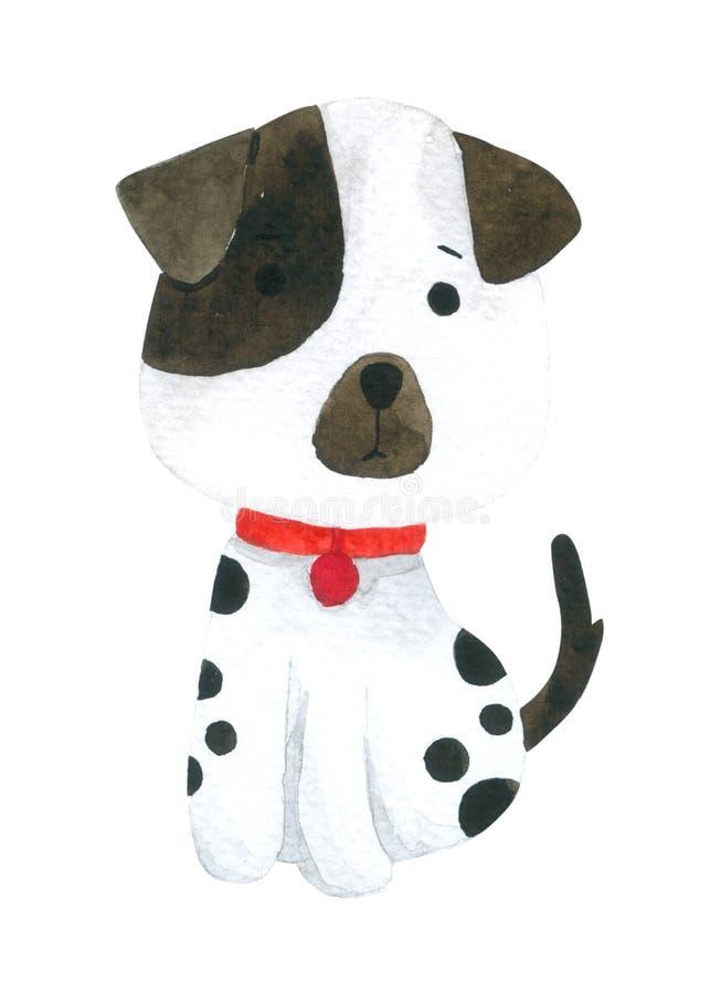 Psia kreskówki akwarela na białym tle, ręka rysujący charakter dla dzieciaków, kartka z pozdrowieniami, skrzynki projekt, pocztów ilustracji