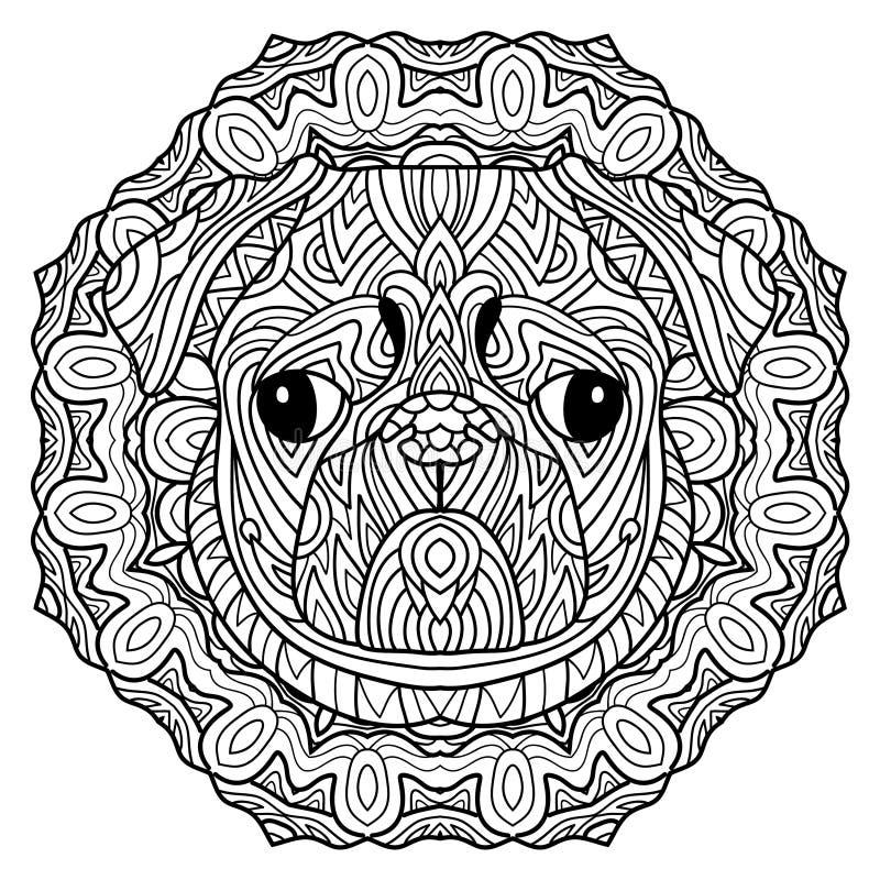 Psia książka Głowa psi mops na tło kółkowym plemiennym wzorze Kreskowej sztuki projekt royalty ilustracja
