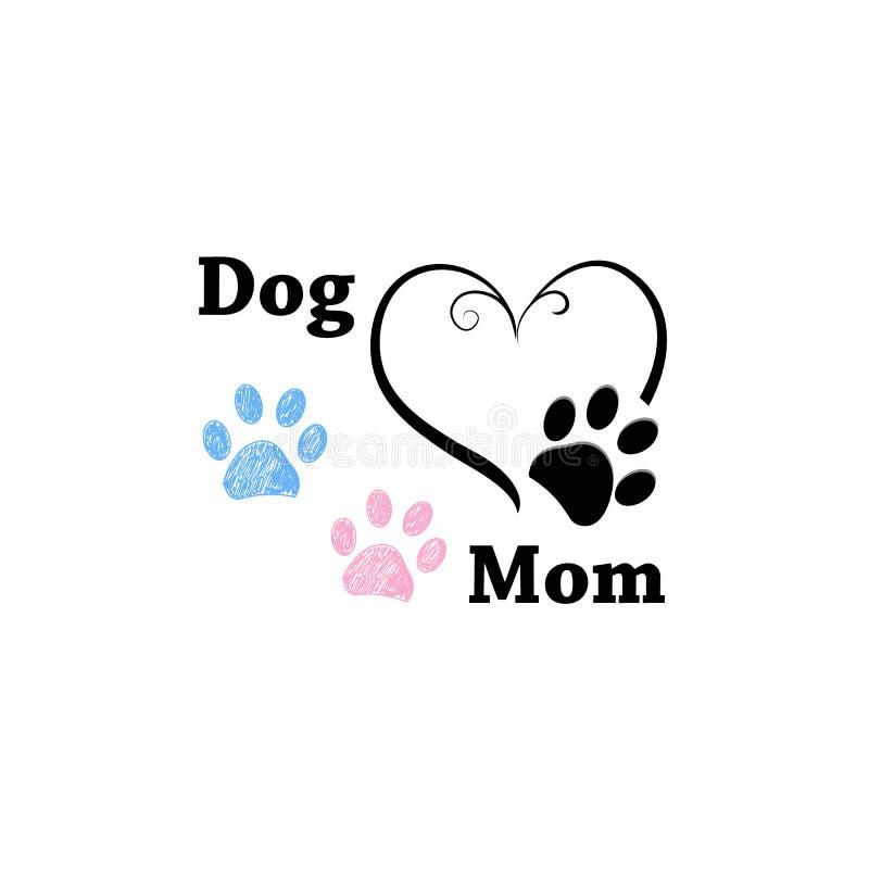 Psia mama Różowy i błękitny łapa druk z sercami szczęśliwa dzień matka s royalty ilustracja
