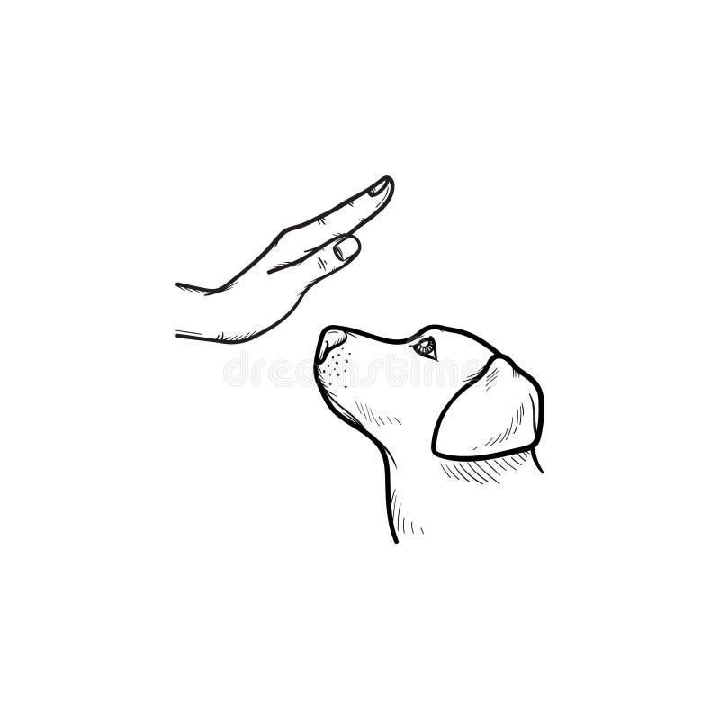 Psia ręka rysująca szkolenie konturu doodle ikona ilustracja wektor