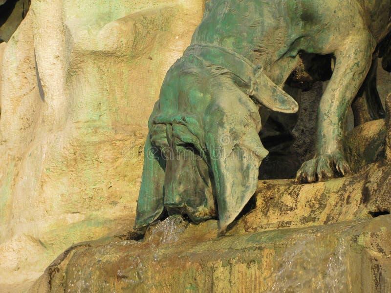Psia rzeźba w fontannie w Buda kasztelu w Węgry, Budapest fotografia stock