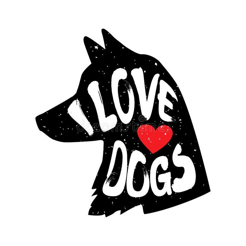Psia ` s głowa w profilu z serca i literowania tekstem Kocham psy również zwrócić corel ilustracji wektora ilustracji